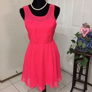 Express Neon Pink Polka Dot Dress (size 6)(B5)